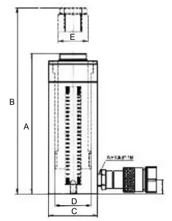 Гидроцилиндры односторонние SAH, схема с размерами.