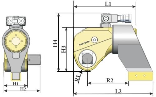 Ключ гидравлический TCL, схема с размерами.