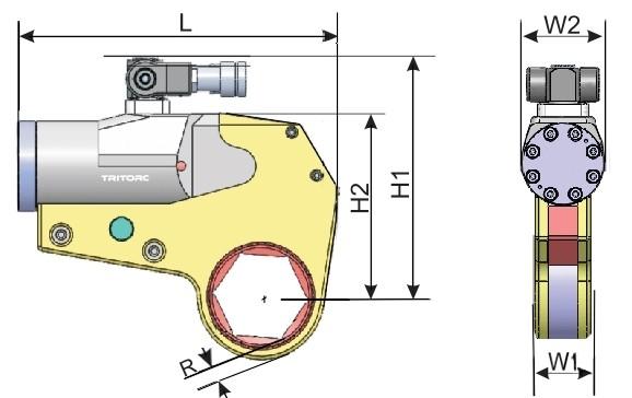 Ключ гидравлический кассетный THL, схема с размерами.